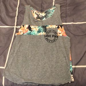 PINK Victoria's Secret Tops - PINK Gray Muscle Tank With Hawaiian Flora Design